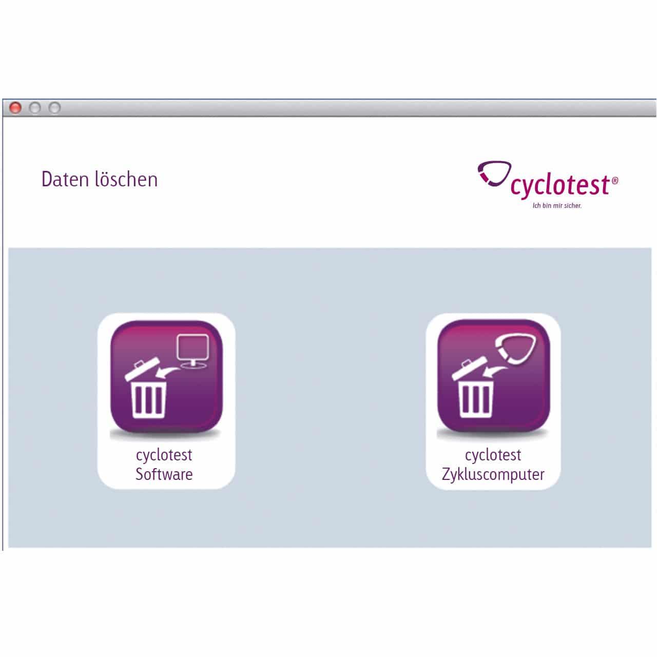 "cyclotest mySoftware: Popup ""Daten löschen"""
