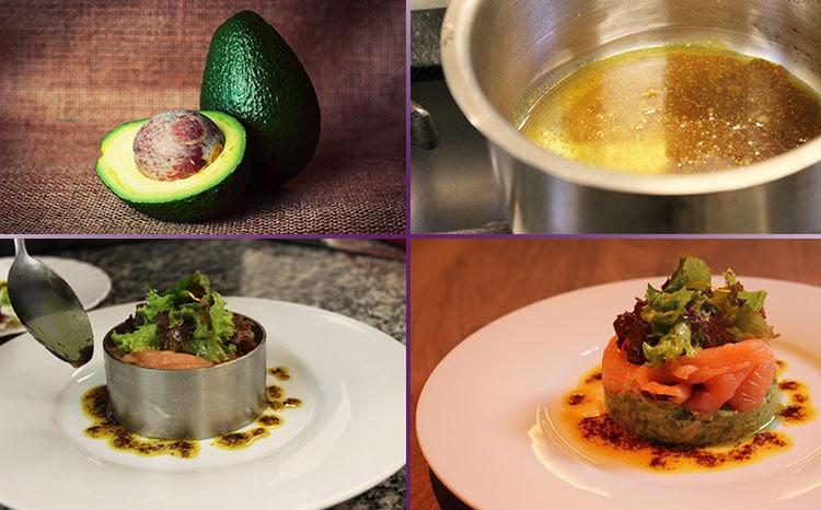 Zubereitung von Avocado mit Wildlachs.