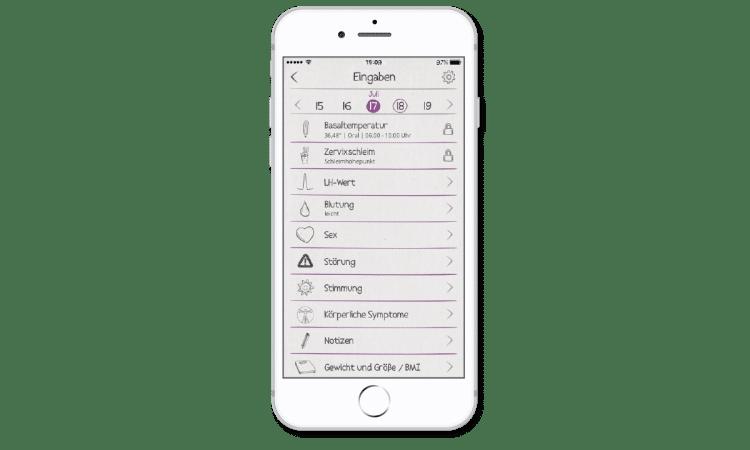 In die cyclotest mySense-App kannst Du viele Eisprung-Symptome eingeben.