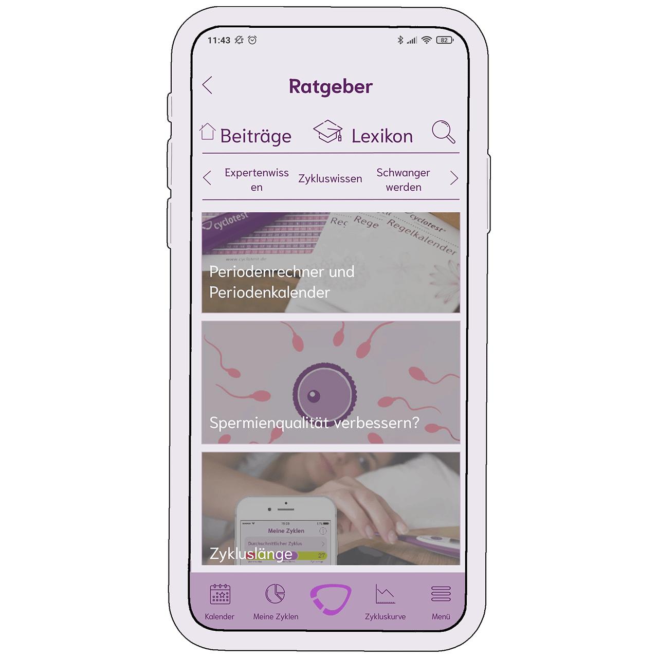 Ratgeber-Bereich in der cyclotest mySense-App