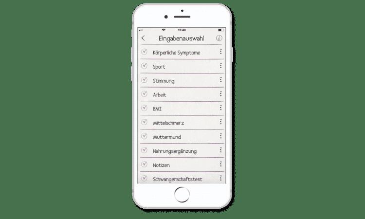 cyclotest mySense - Weitere Eingaben