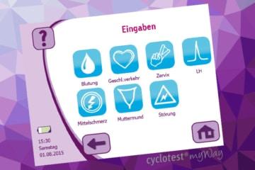 cyclotest myWay erlaubt Dir, vielfältige Eingaben rund um das Zyklusgeschehen zu machen.