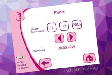 Der Geburtsterminplaner bei cyclotest myWay.