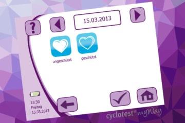 cyclotest myWay erlaubt es Dir, geschützten oder ungeschützten Geschlechtsverkehr zu dokumentieren.