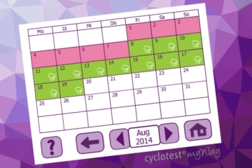 Die Kalender-Funktion von cyclotest myWay gibt eine Vorschau der fruchtbaren Tage im aktuellen Zyklus.