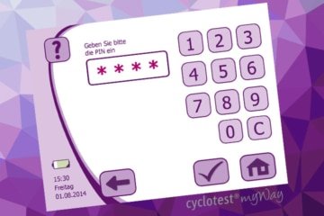 Die PIN-Eingabe bei cyclotest myWay.