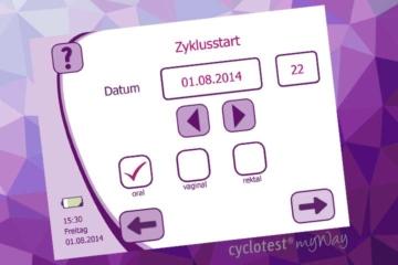 cyclotest myWay - Displayansicht bei Eingabe eines Zyklusstarts.