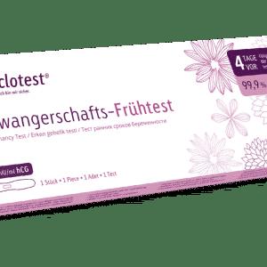 cyclotest Schwangerschafts-Frühtest zur Anwendung bereits vor Fälligkeit der Tage.