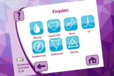 Eingabemöglichkeiten beim cyclotest myWay: Blutung, Geschlechtsverkehr, Zervix, LH, Mitelschmerz, Muttermund, Störung