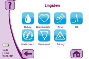 cyclotest myWay erlaubt viele Eisprung Symptome Eingaben wie Zervix, LH und Muttermund.