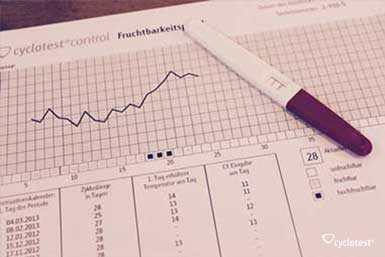 Mit Hilfe eines Ovulationstests kann die fruchtbare Zeit per Computer und Zyklusblatt ausgewertet werden.