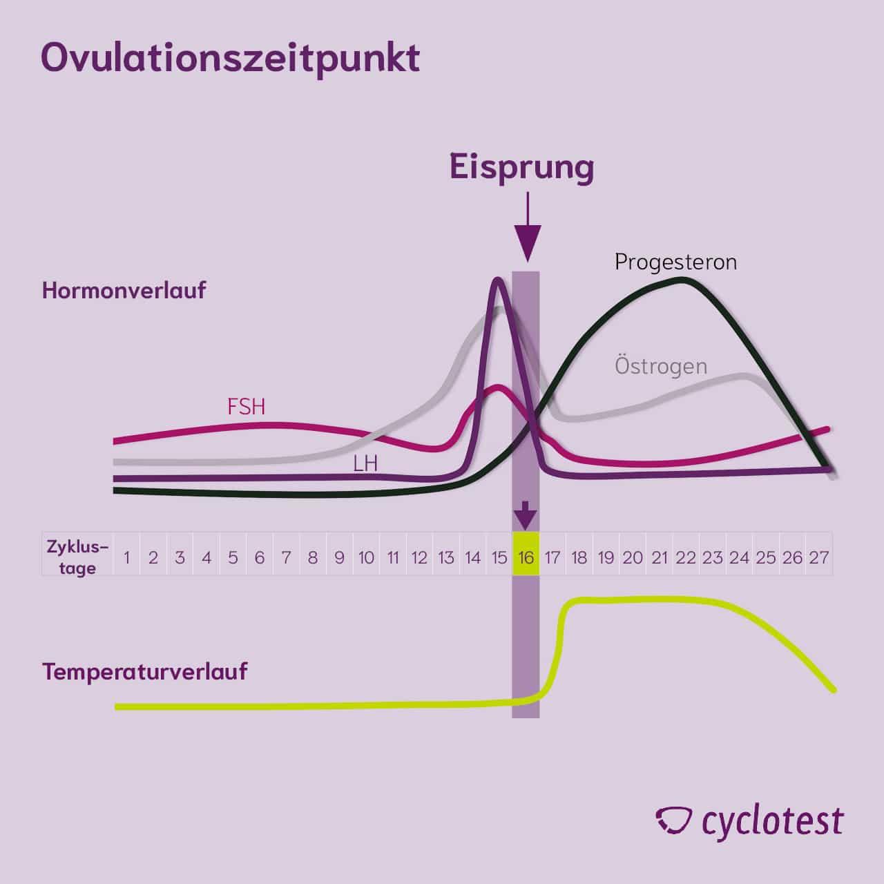 Darstellung des Verlaufs der Hormone FSH, LH, Progesteron und Östrogen sowie der Temperatur beim Eisprung.