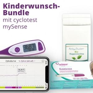 Unser Kinderwunsch-Bundle: cyclotest mySense, Ovulationstests und Bio-Klapperstorchtee