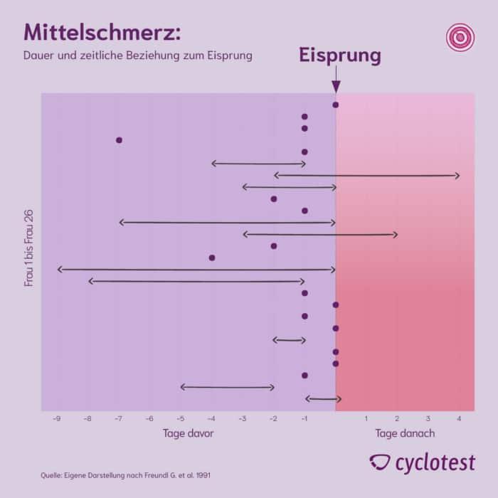 Die Grafik zeigt den Zusammenhang zwischen Mittelschmerz und Eisprung.