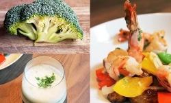 Gesunde Brokkolisuppe und ofenfrisches Gemüse für gute Laune.