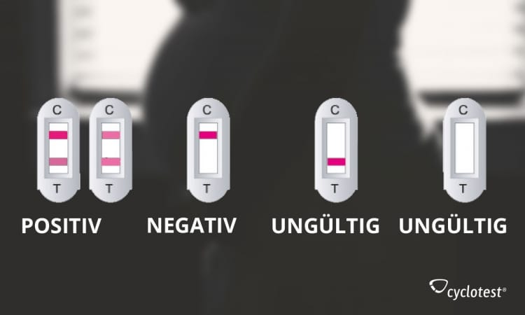 Die Grafik zeigt das Schwangerschaftstest-Ergebnis: positiv, negativ oder ungültig.