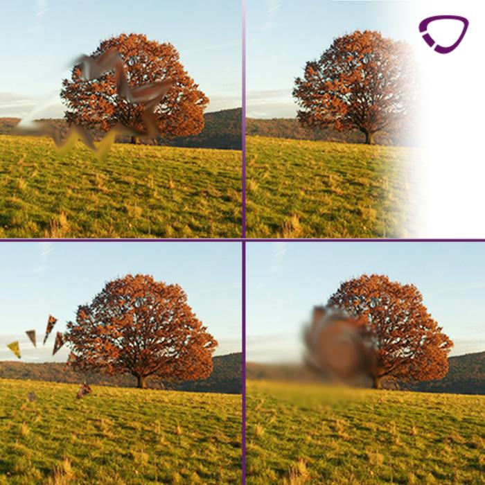 Sehstörungen bei einer Migräne mit Aura, von links im Uhrzeigersinn: Fortifikation, einseitiger Verlust der Wahrnehmung, negatives Skotom, positives Skotom