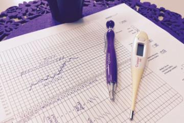 Beim Ausüben der symptothermalen Methode benötigt man ein Zyklusblatt sowie ein Basalthermometer und einen Stift.