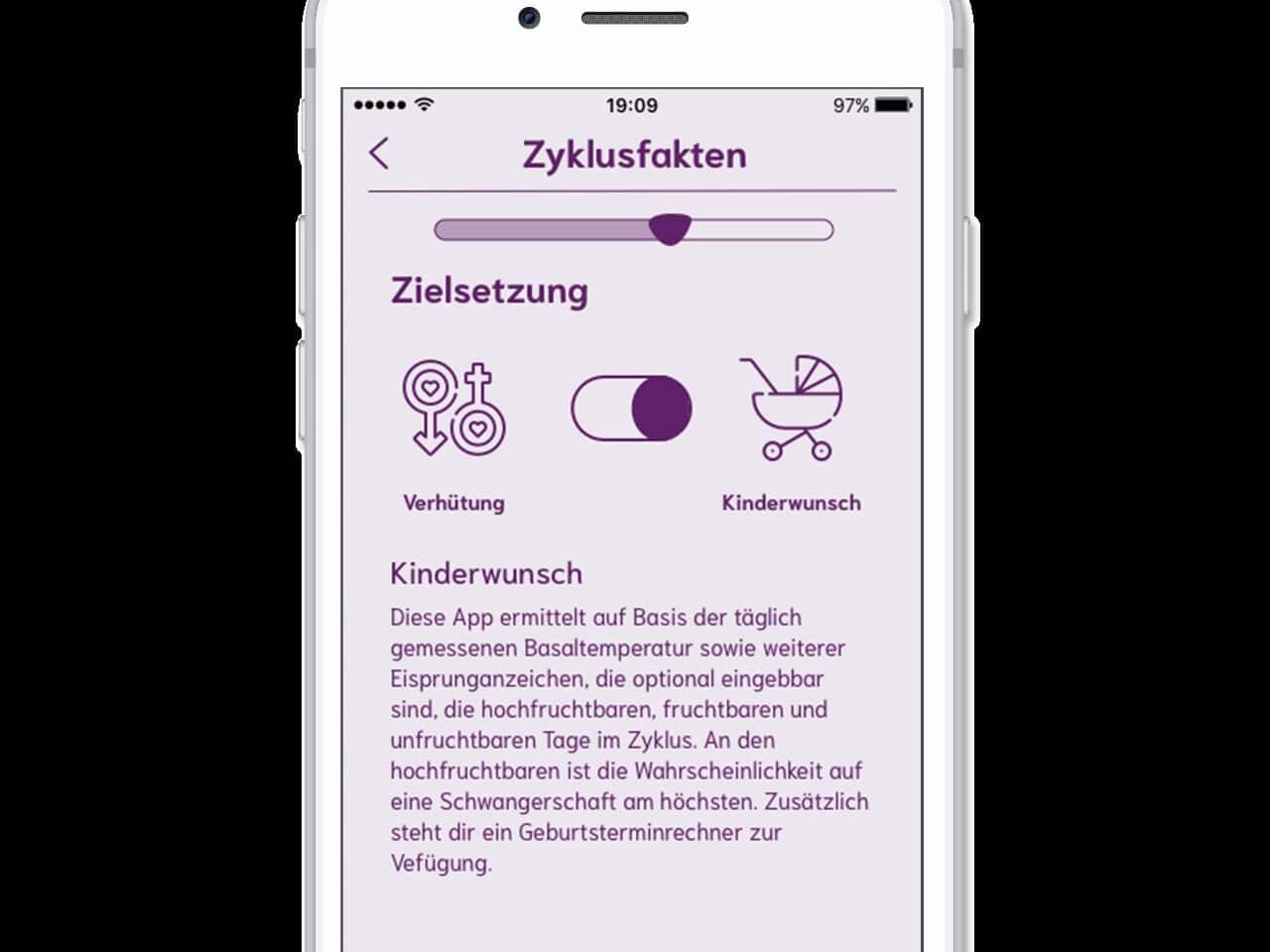 Bei einer Zyklus-App lässt sich das Ziel festlegen.